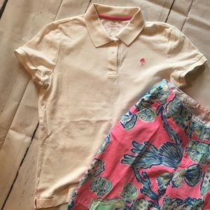Lilly Pulitzer XS resort fit white polo top NICE